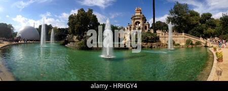 Panoramic view of the fountain in Parc de la Ciutadella in Barcelona, Spain - Stock Photo