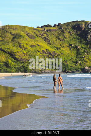 View of the beach in Bonete, Ilhabela Island, State of Sao Paulo, Brazil - Stock Photo