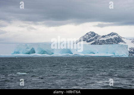 Floating iceberg on Elephant Island, South Shetland Islands, Antarctica, Polar Regions - Stock Photo