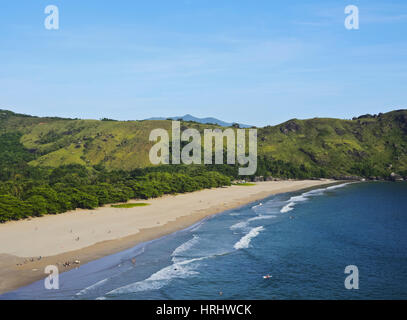 Elevated view of the beach in Bonete, Ilhabela Island, State of Sao Paulo, Brazil - Stock Photo