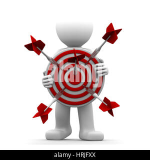 3d character holding a red archery target. Conceptual illustration - Stock Photo