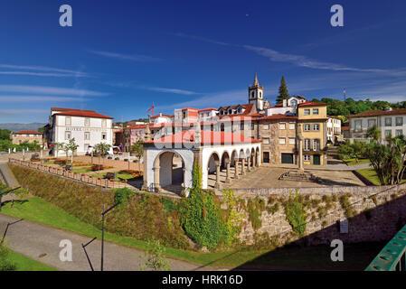 Town view of charming Ponte da Barca in Portugals Minho region - Stock Photo