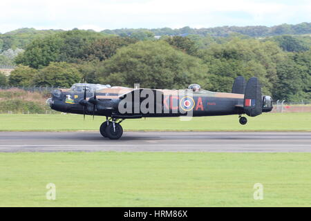 PA474, an Avro Lancaster B1 of the Royal Air Force's Battle of Britain Memorial Flight (BBMF), at Prestwick Airport - Stock Photo
