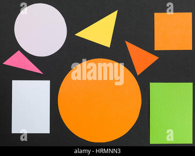 Colorful Pattern of Geometric Shapes Against a Black Background - Stockfoto