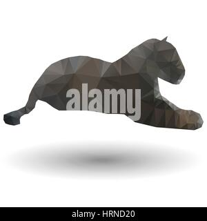 Abstract illustration of jaguar in origami style on white background - Stock Photo