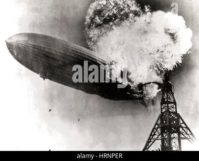 Hindenburg Disaster, May 6th, 1937 - Stock Photo