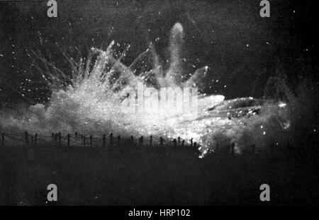 WWI, German Barrage, Second Battle of Ypres, 1915 - Stock Photo