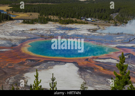 Grand Prismatic Spring in Midway Geyser Basin as seen from above in Yellowstone National Park, USA - Stock Photo