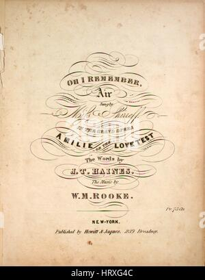 Sheet music cover image of the song 'Oh I Remember Air', with original authorship notes reading 'The Words by JT - Stock Photo
