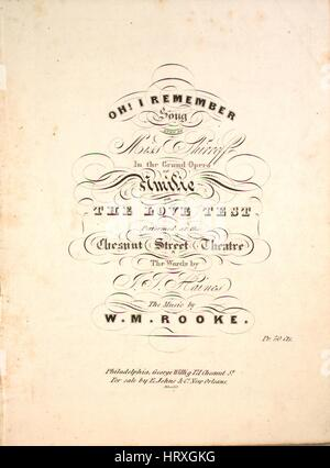 Sheet music cover image of the song 'Oh I Remember New Edition', with original authorship notes reading 'The Words - Stock Photo