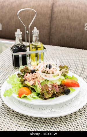 Tuna salad with fresh vegetable, mediterranean cuisine - Stock Photo