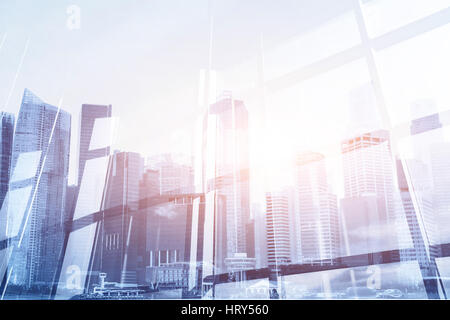 abstract business modern background with cityscape double exposure - Stock Photo