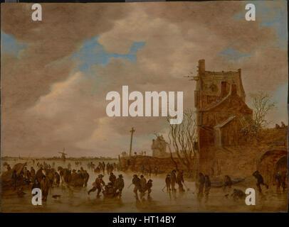 Ice pleasures in front of a bridge tower, 1655. Artist: Goyen, Jan Josefsz, van (1596-1656) - Stock Photo