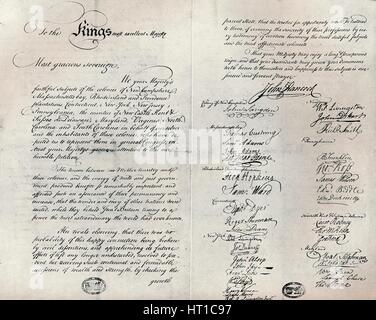 The Fitzwilliam copy of the Olive Branch Petition, 1775. Artist: Unknown. - Stock Photo