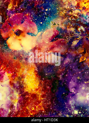 Cosmic space with flowers, color galaxy background, computer collage. - Stock Photo