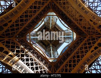 View on Eiffel Tower in Paris from below, France - Stock Photo