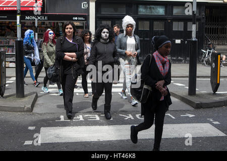 LONDON, ENGLAND - 31st October, 2016 Youngsters in fancy dress for Halloween during community trick or treat parad - Stock Photo