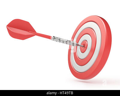 Red target and dart hitting center. 3D render illustration isolated on white background - Stock Photo