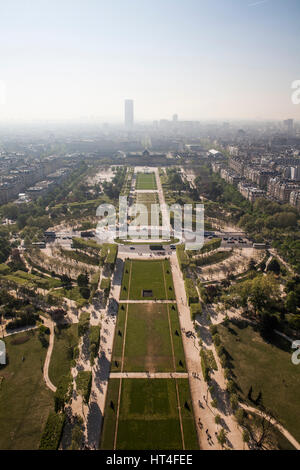 View from the Eiffel tower down the Champs de Mars park area in Paris, France. - Stock Photo