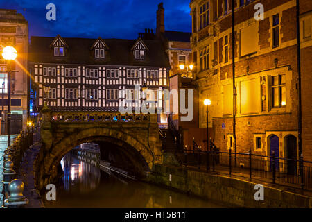 A view of High Bridge in the historic city of Lincoln, UK. - Stock Photo