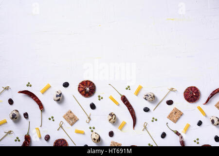 Food mock up menu, cooking ingredients frame. Gastronomy market background. Flat lay, top view, copy space. - Stock Photo