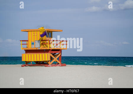 Art Deco lifeguard stations dot the landscape of Miami Beach, Florida in the South Beach area on a sunny summer - Stock Photo