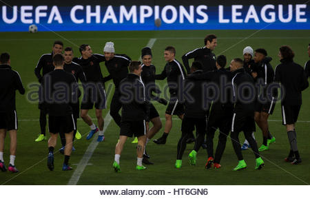 Football Soccer - Paris St Germain training session - UEFA Champions League - Camp Nou stadium, Barcelona, Spain - Stock Photo