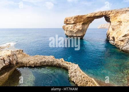 Azure Window in Malta, collapsed in 2017 - Stock Photo