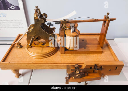 England, London, South Kensington, Science Museum, Copy of A Morse Telegraph Machine dated 1845 - Stock Photo