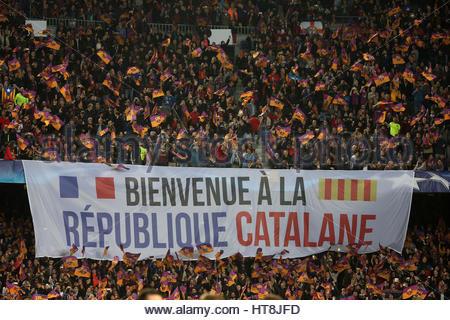 Football Soccer - Barcelona v Paris St Germain - UEFA Champions League Round of 16 Second Leg - The Nou Camp, Barcelona, - Stock Photo