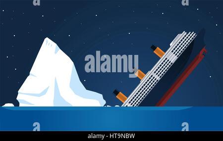 shipwreck Titanic Iceberg Transatlantic Sank, vector illustration cartoon. - Stock Photo