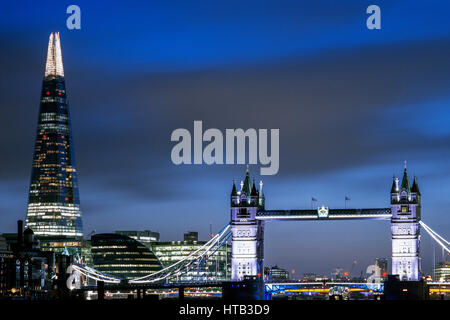 UK, London city skyline with Tower Bridge and the Shard - Stock Photo