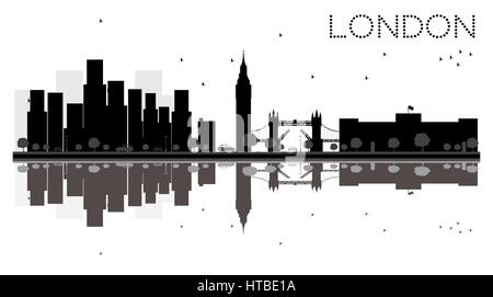 London City Skyline Black And White Silhouette With Reflections Vector Illustration Simple Flat Concept