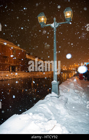 Lanterns across the snow