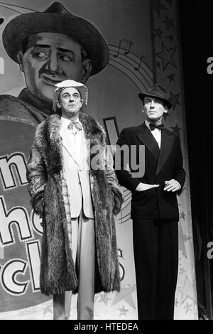Actors Roy Hudd (l), as Bud Flanagan, and Christopher Timothy, performing as Chesney Allen, on stage at the Prince - Stock Photo