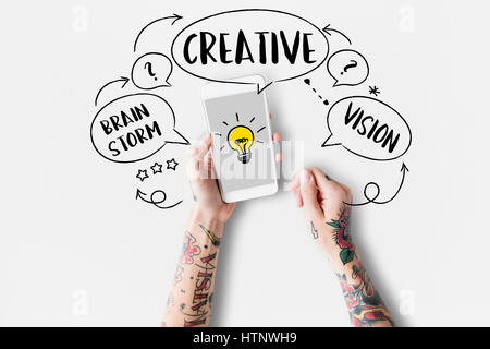 Fresh Ideas Creative Innovation Light bulb - Stock Photo
