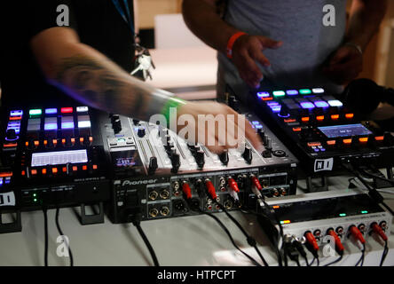 music gear and equipment at sonar advanced music and arts festival in Barcelona, Spain - Stock Photo
