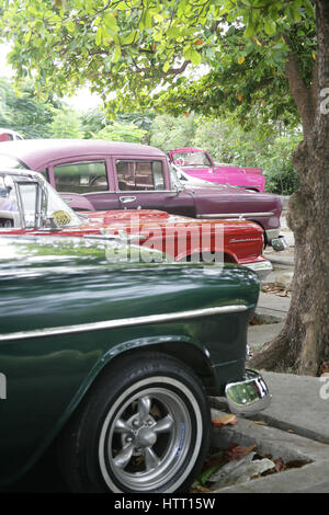 Classic Cuban Cars Parked In Central Havana Stock Photo ...