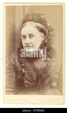 Victorian Carte de Visite by famous photographer Oscar Gustave Rejlander of mature lady wearing a black bonnet and - Stock Photo