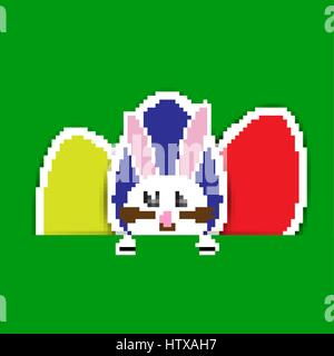 Happy Easter card background with bunch of colorful easter eggs. - Stock Photo