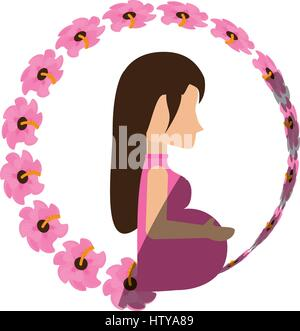woman pregnant expectant flower shadow - Stock Photo