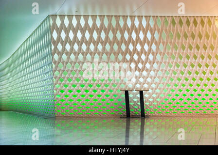 OSLO, NORWAY - JANUARY 28: Interior detail of Oslo opera house desiged by Snohetta and build in 2007. Opera house - Stock Photo