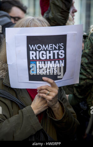 International Women's Day Rally & march to Trump International Hotel in New York City, give message as half the - Stock Photo