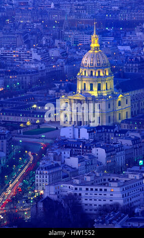 Elevated view of Hotel des Invalides at dusk, Paris, France - Stock Photo