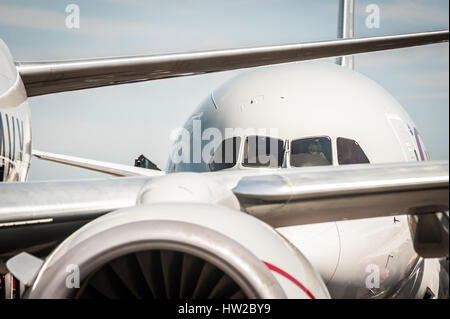 abstract of jet aircraft taxiing at an airport - Stock Photo
