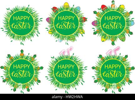 Easter label with banny, eggs and carrots. Easter Decor template. Sticker set  funny easter. Set of stickers, pins, - Stock Photo