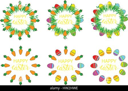 Easter label with eggs and carrots. Easter Decor template. Sticker set  funny easter. Set of stickers, pins, patches - Stock Photo