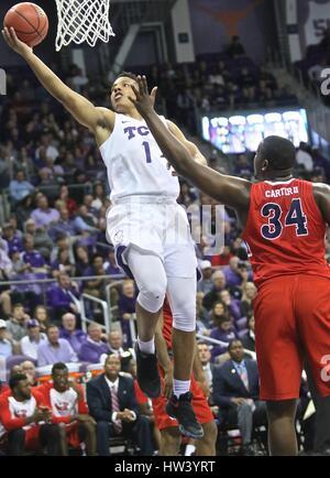 Fort Worth Texas, USA. 15th Mar, 2017. NIT basketball, tournament, NCAA, First Round, TCU guard Desmond Bane (1) - Stock Photo