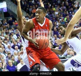 Fort Worth Texas, USA. 15th Mar, 2017. NIT basketball, tournament, NCAA, First Round, Fresno State forward Bryson - Stock Photo