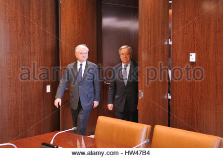 New York City, USA. 17th Mar, 2017. UN Secretary-General Antonio Guterres meets with Armenian Foreign Minister Edward - Stock Photo